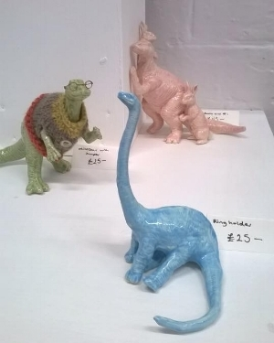 Ceramic dinosaurs and rabbits by Beth Cartwright
