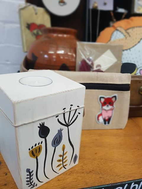 Fiona Gypsy Bunting - Block Candle Holder - £12  Jo's Crafts & Bags - Fox Pencil Case - £5