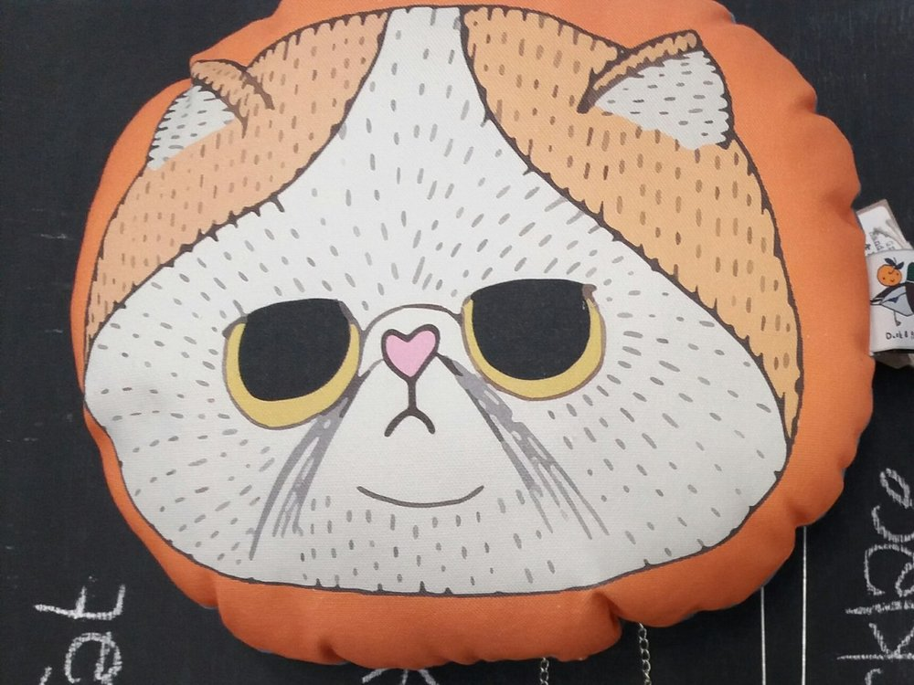 Duck and Peach - Grumpy Cat Cushion - £18