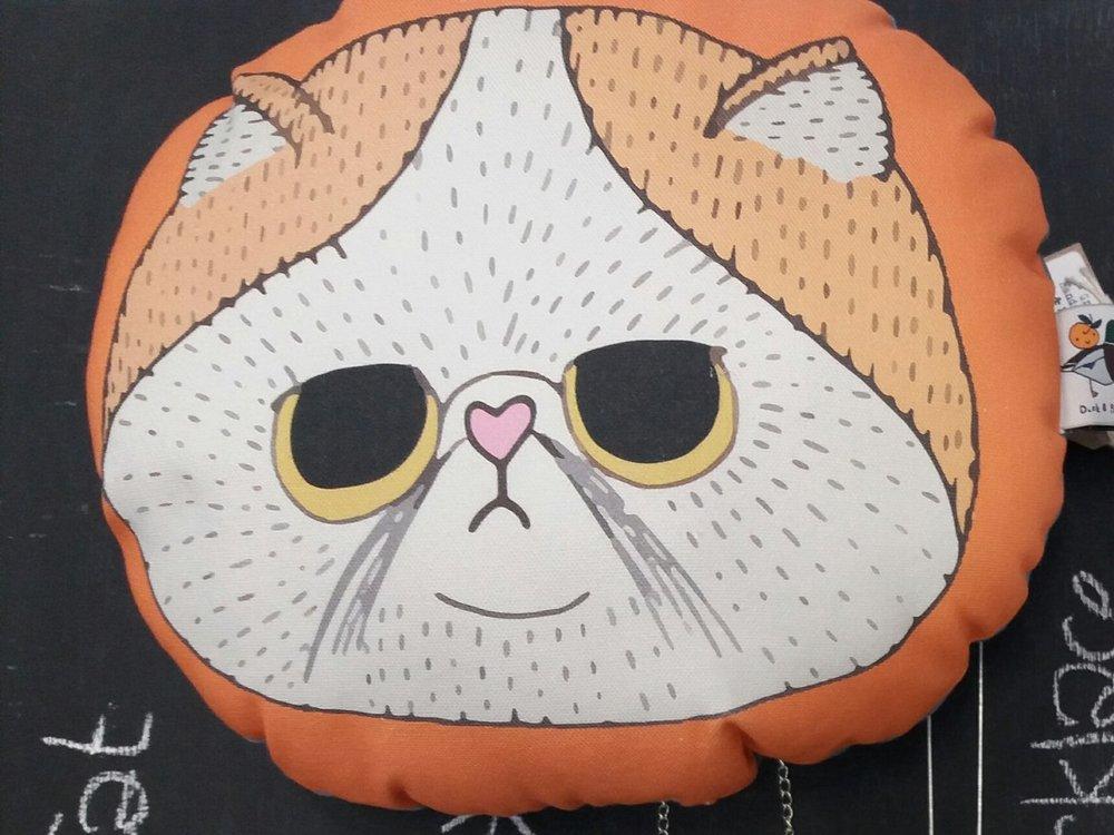 Duck and Peach - Grumpy Cat Cushion - £18