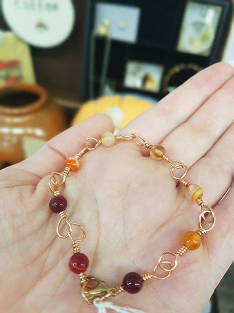 Jenny Weston - Carnelian and Copper Wire Bracelet - £15