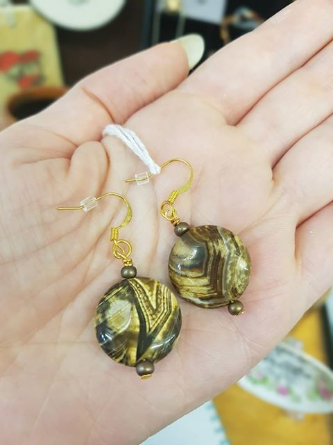 Jenny Weston - Desert Agate Gold-plate Earrings - £15