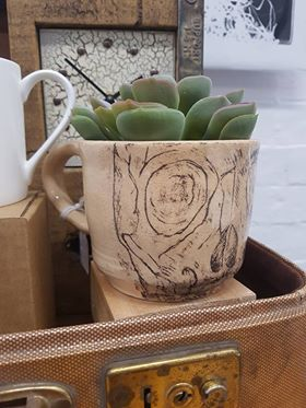 Drawn and Fired - Decorative 'Mug' £10  (Please note the plant is not included)