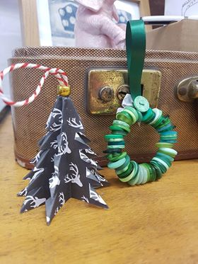 Emma Lewis - Paper Tree Decoration £1  Button Wreath £2.50