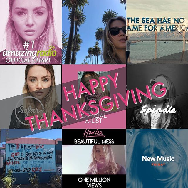 Happy Thanksgiving to all of my American friends! 🇺🇸 Thankful for all the support over my music journey! 🎶 It's been a great year so far. 🔥 Harlea. x #BeautifulMess