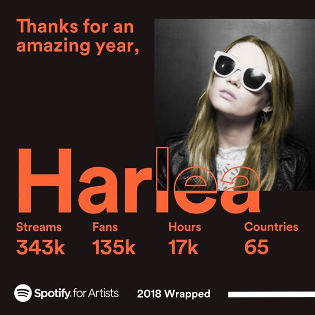 Huge thanks to @spotify for all of the support they have given me and my music this year! And thanks to all of you for listening! 🎶🔥 Here's to an even bigger 2019! ✌️ Harlea. x #BeautifulMess