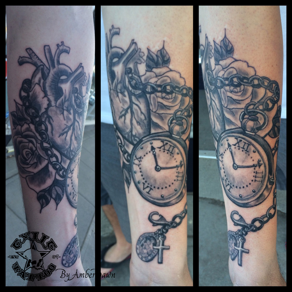 Heart and Clock Tattoo