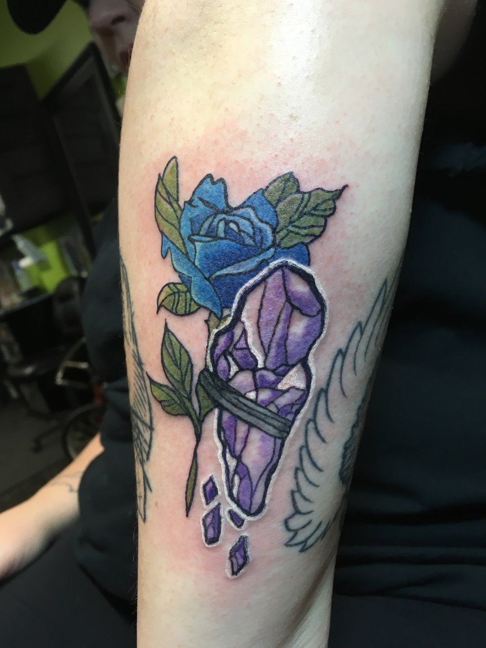 Crystal and Rose Tattoo