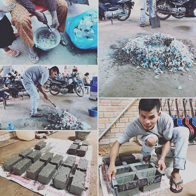 Instead of all the plastic just ending up in the dump we're  creating  bricks out of plastic rubbish in #cambodia @vpocharity