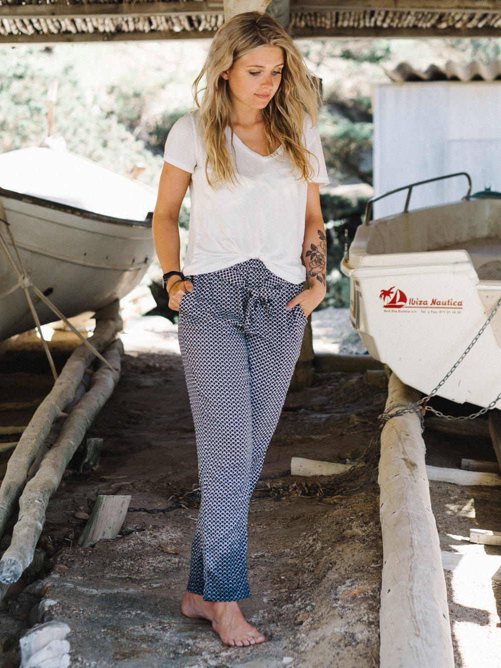 Anna wears the Crew Clothing  Beach Trousers