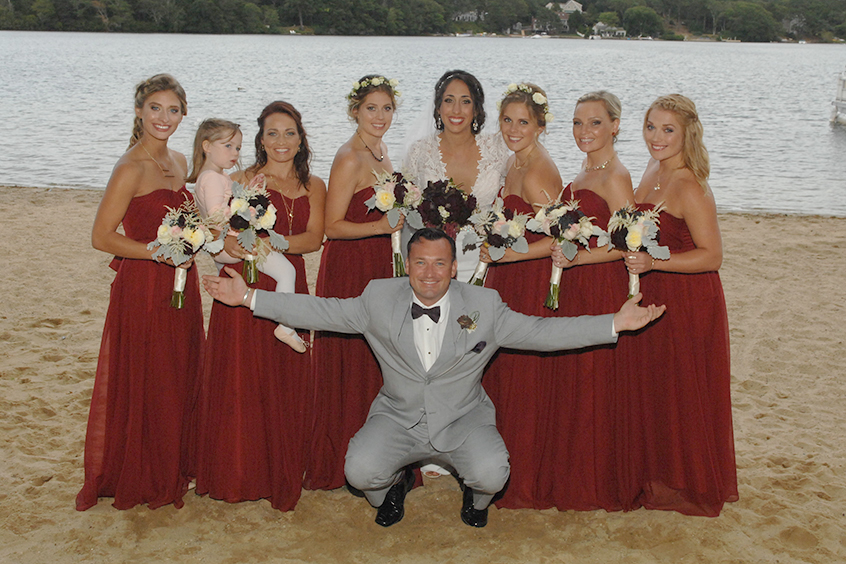 Bridesmaids and groom