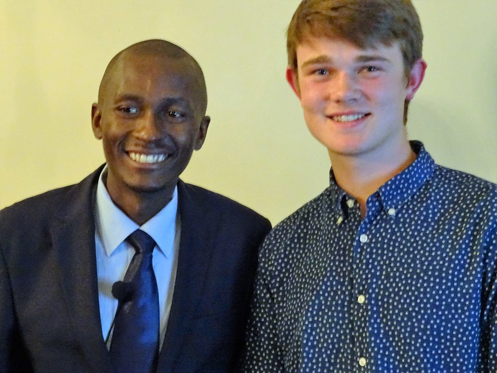 Gascia with Rob Lindfield, Varndean College student who is leading the Microfinance project in Brighton