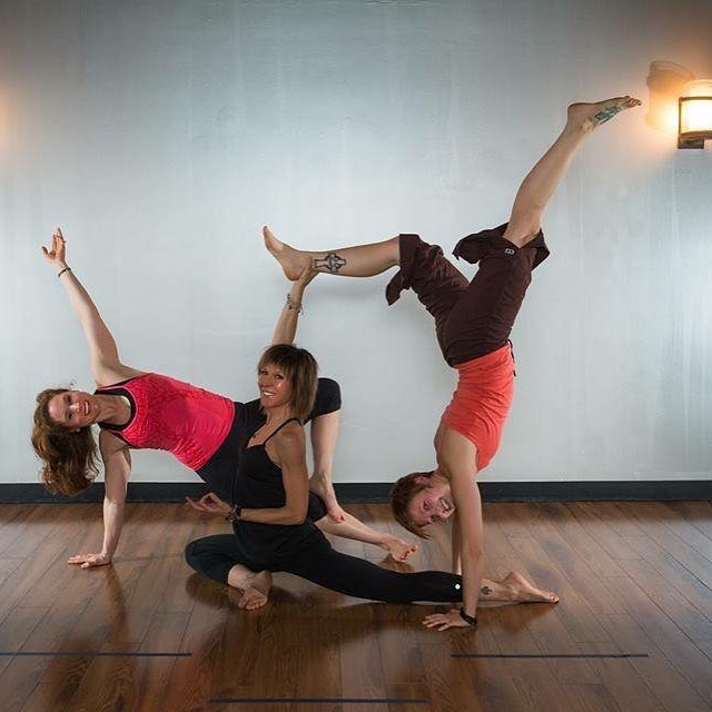 Couldn't even wait one more day to throw this baby back! #tbt #almostthursday Megan, Kim and Kristie from almost 3 years ago!!! All still teach at the studio. They have my ❤ for sure in this cute matching pic! #allthelove #family #yogastrong #original