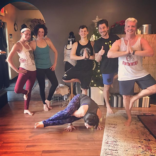 Nothing like being hOMe for the holidays!  My favorite part of the holiday season is when all of our out of town yogis come back to see us. So much fun! #yogafamily #hOMe #treepose #homefortheholidays🎄 #wemissedyou #yoga #homestudio #stopandsayhi