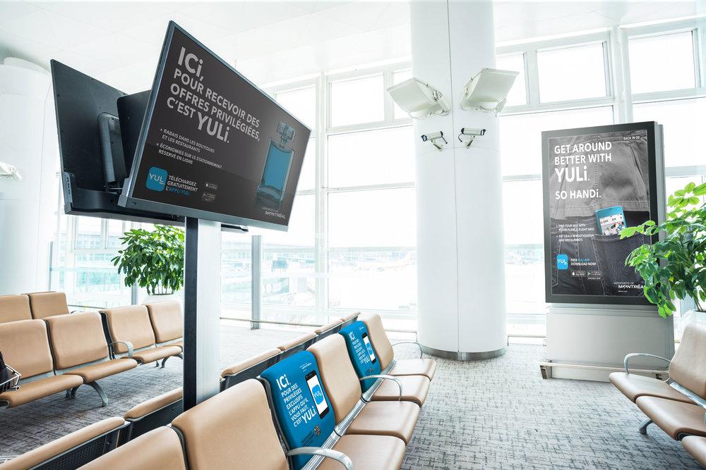 ALTAVIA PRODITY  >  AÉROPORT DE MONTRÉAL   Infographie seulement - Production Only  Campagne bilingue pour le lancement de l'application  YULi  (Mise en situation fictive des pièces).  Bilingual  YULi  app Promotion Campaign (Fictional ads situation)