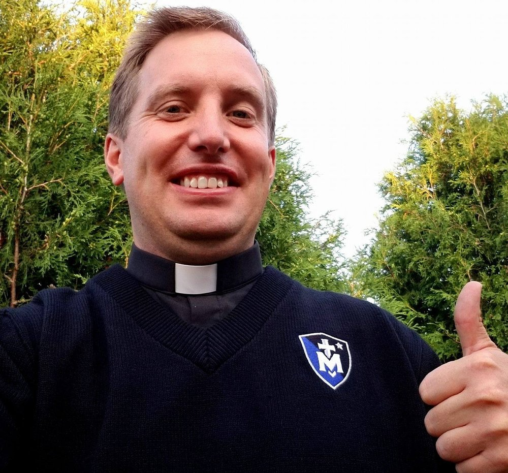 Fr Ryan sporting his new Stella Maris gear