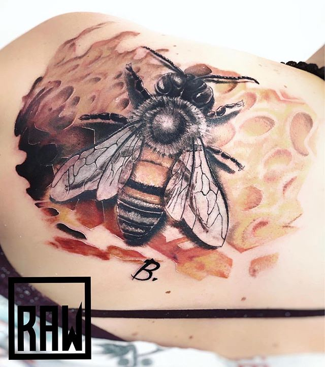 RAW: Tattoo. BEEautiful work from @therawcanvas artist @officialjohnnybravotattoos done here in @downtowngj @westslopebestslope  We are open Monday through Saturday from 10am-5pm. Stop in and see what our artists can do for you!