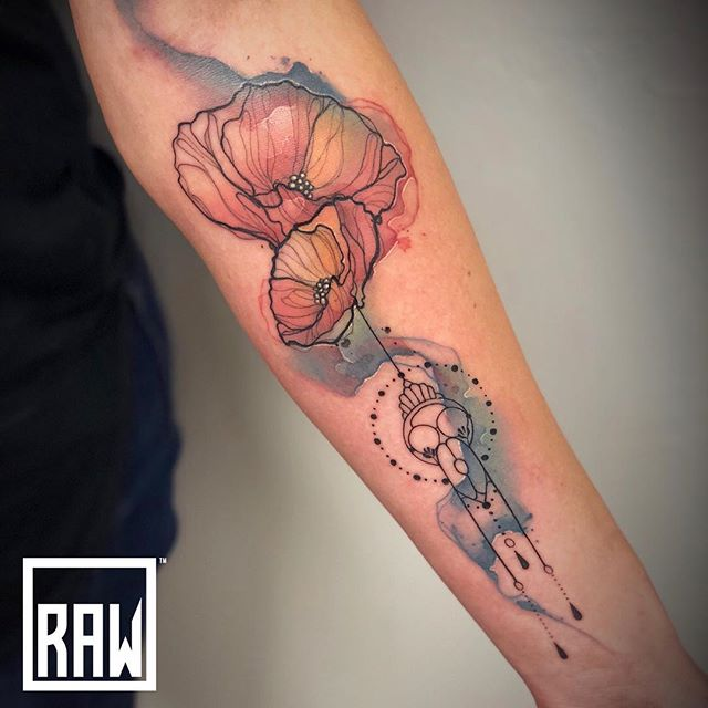 RAW: Tattoo. Flower work by @justinnordinetattoos done here at @therawcanvas in @downtowngj @westslopebestslope