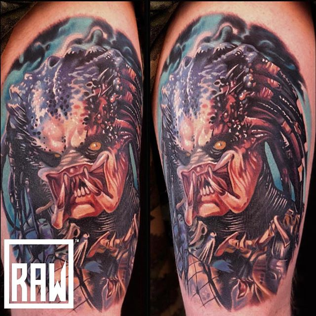 RAW: Tattoo. Amazing predator piece done by one of our artists @erik_ez_campbell done here at @therawcanvas in @downtowngj @westslopebestslope stop in and get set up with one of our 6 talented artists!