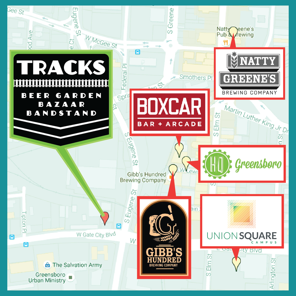 Tracks is located at 302 W. Gate City Blvd. in Downtown Greensboro.
