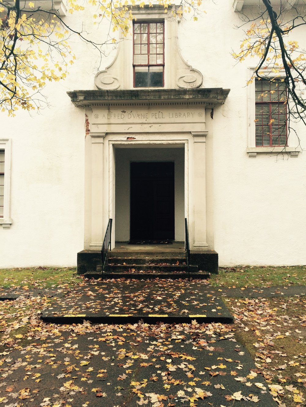 Entrance to Alfred Duane Pell Library Building in Autumn