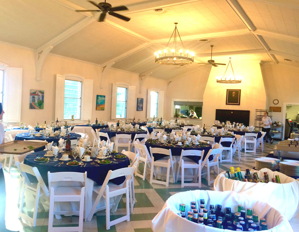 Dining Hall set for a Rehearsal Dinner
