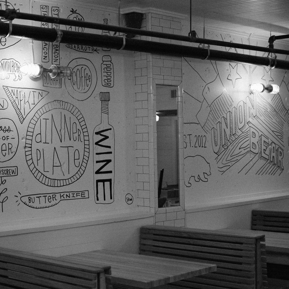 Kyle's hand-drawn words on the wall of  Union Bear  restaurant in Dallas