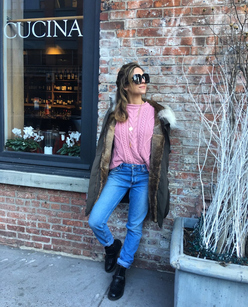 Wearing:  Madewell Sweater,   Re/Done Jeans ,  Dr. Marten boots ,  Yves Saloman Coat ,  Gucci Sunglasses
