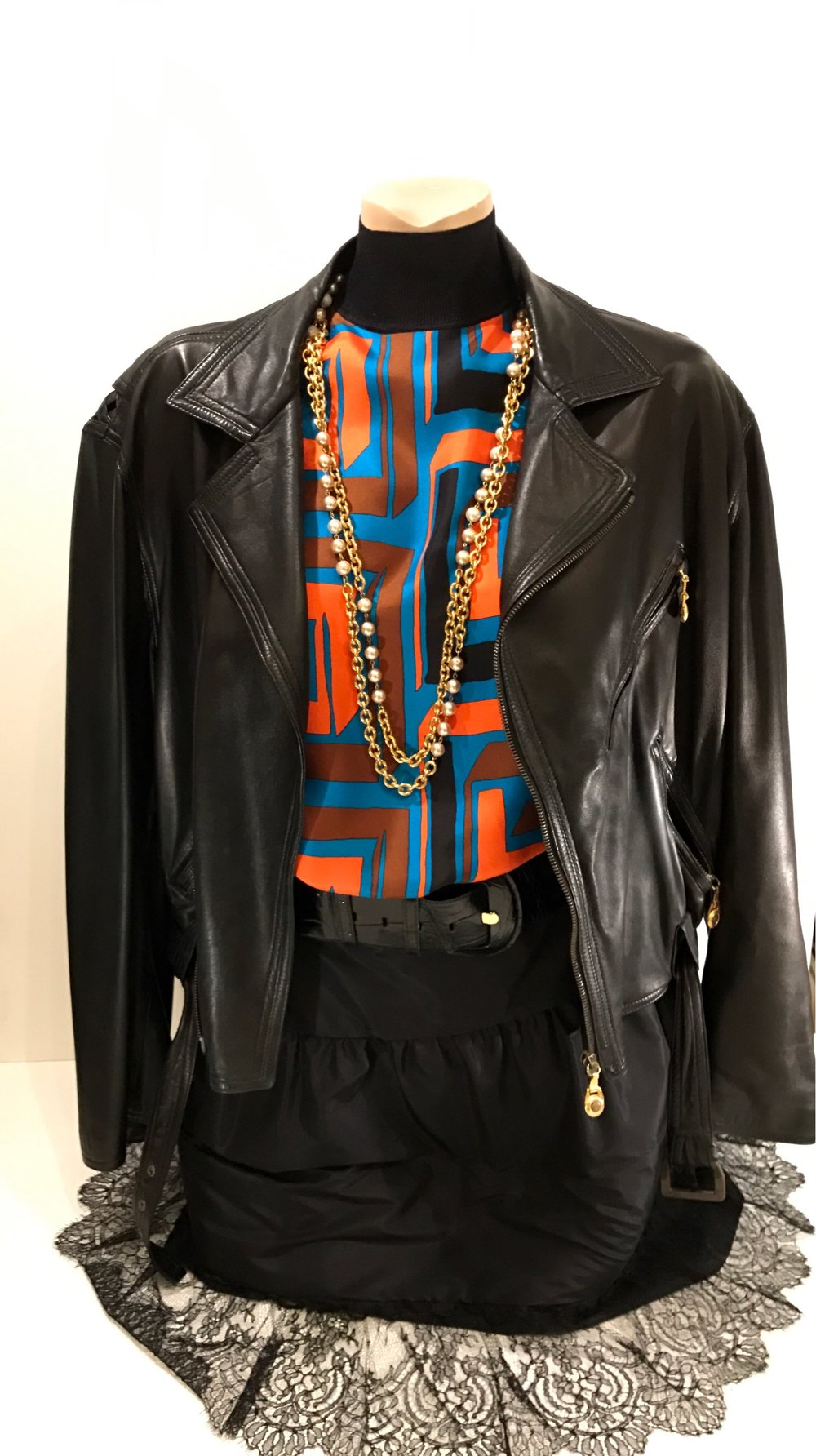 Vintage 1989 Versace silk top w Vintage Chanel Necklace