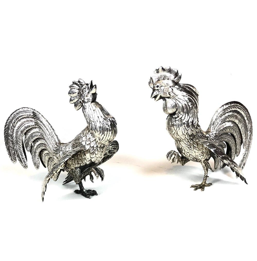 Vintage Silver cockerels