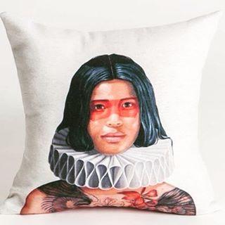 "The female native of our ""Brazilian indigenous people"" collectin. Da nossa coleção ""Índios"". #interiordesign #cushion #design #indigenous #ayhomedesign #designdeinteriores #almofadas"