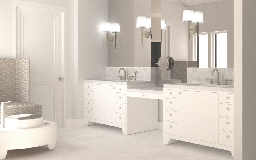Master Bathroom Render (design courtesy of Staprans Design)