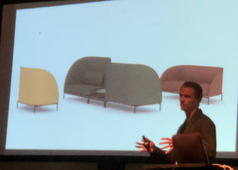 Hallgeir Homstvedt presenting his break room seating and sofas.