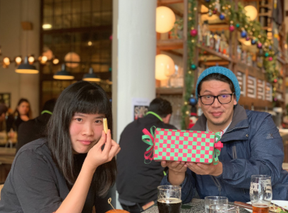 Bianca's creative wrapping, harkening back to our team offsite in Japan and the common checkerboard pattern, displayed by Jorge.