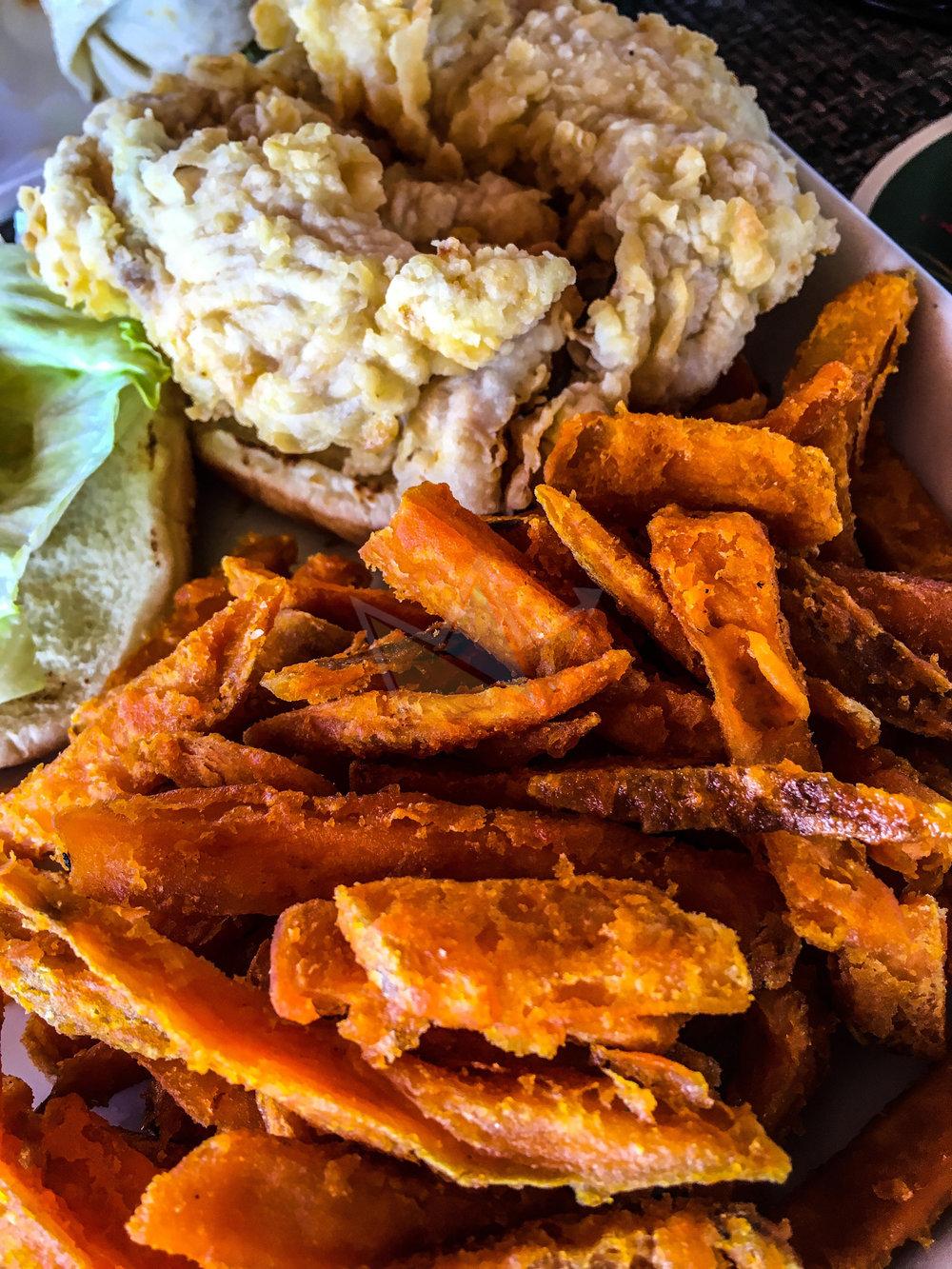 Fish Burger w/ Sweet Potato Fries