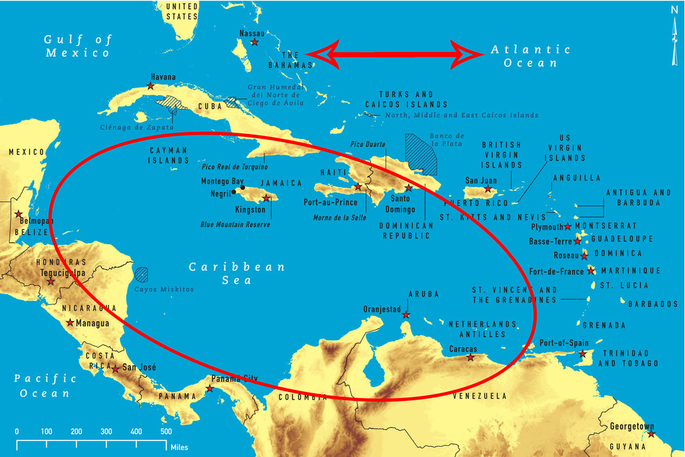 Are there any Bahamian islands in the Caribbean Sea? No? Very well.
