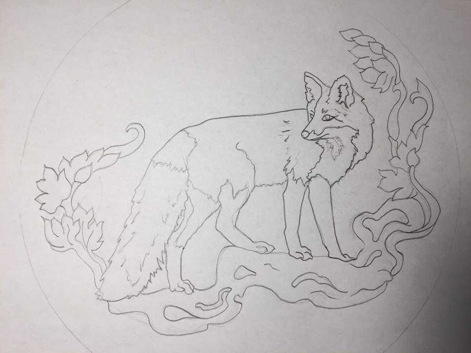 Preliminary sketch of the festive fox we'll be painting!