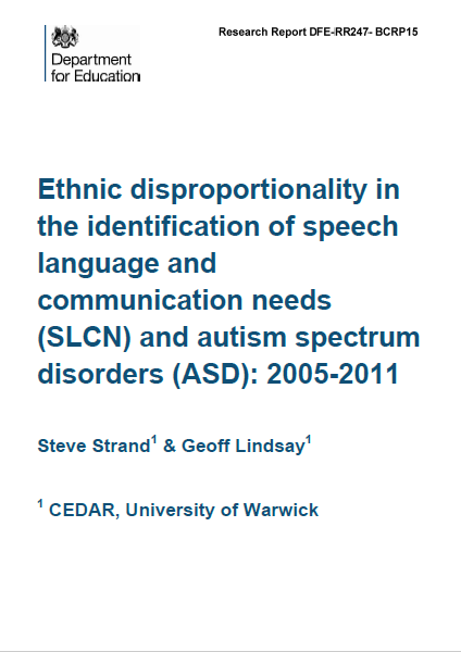Ethnic disproportionality in the identification of SLCN and ASD The Better Communication Research Programme, 2011   There has been a long standing general concern about the progress and achievement of some minority ethnic groups in England (e.g. Swann, 1985) and one element within the general concern has been the specific issue of disproportionate representation among pupils designated as having special educational needs (SEN).