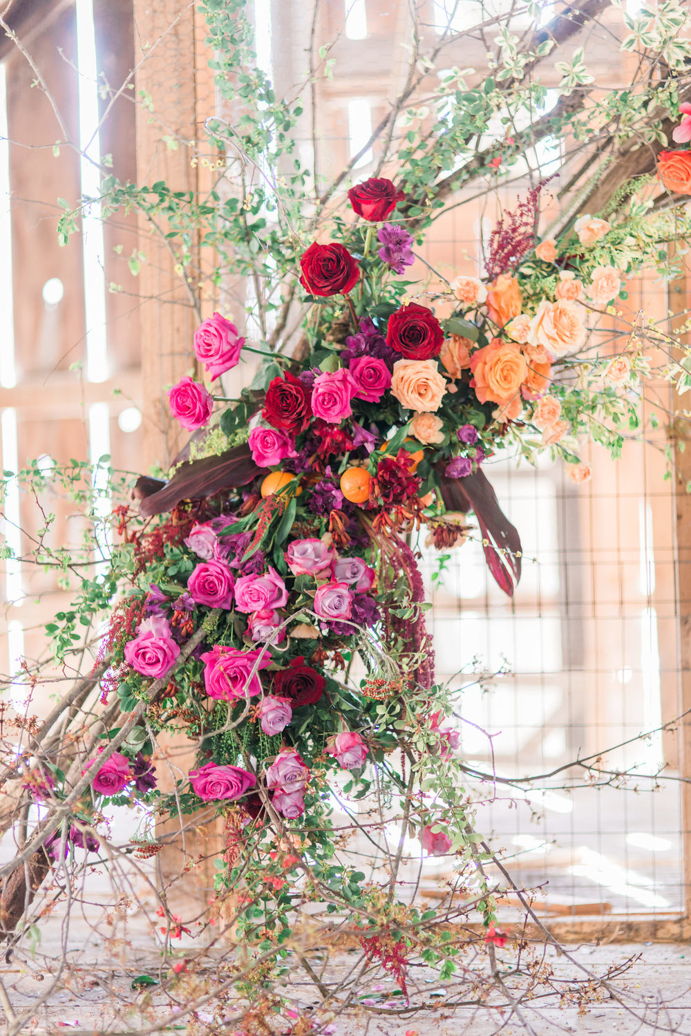 Installation created by TEXTURE Florals, Layers of Lovely and Wildflowers by Design / Photo: Schon Photography