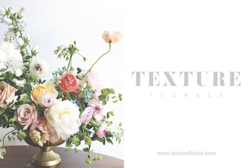 TEXTURE Florals promotional card for clients.
