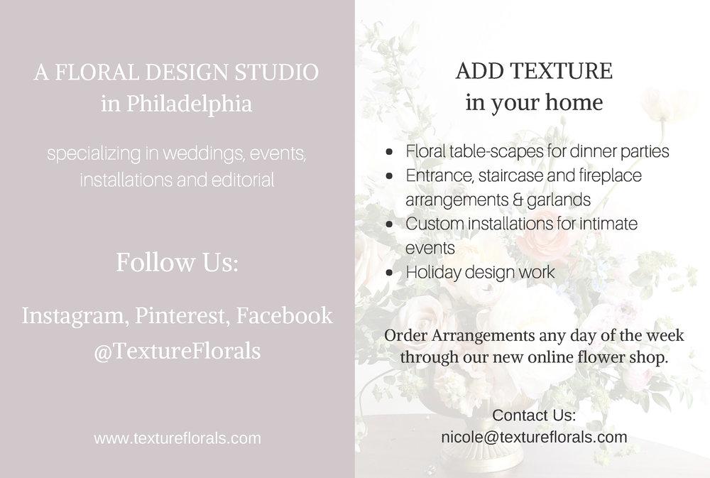 TEXTURE Florals promotional cards for clients.