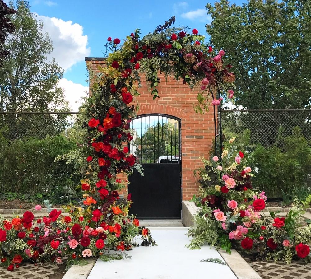 Texture Florals Autumn Wedding Floral Arch_New Liberty Distillery, Philadelphia, PA