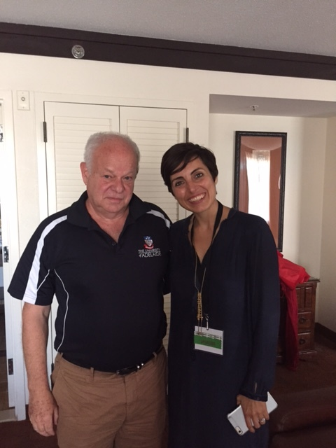 Martin Seligman, founder of Positive Psychology  and Silvia Garcia, at the International Positive Psychology Association Congress.