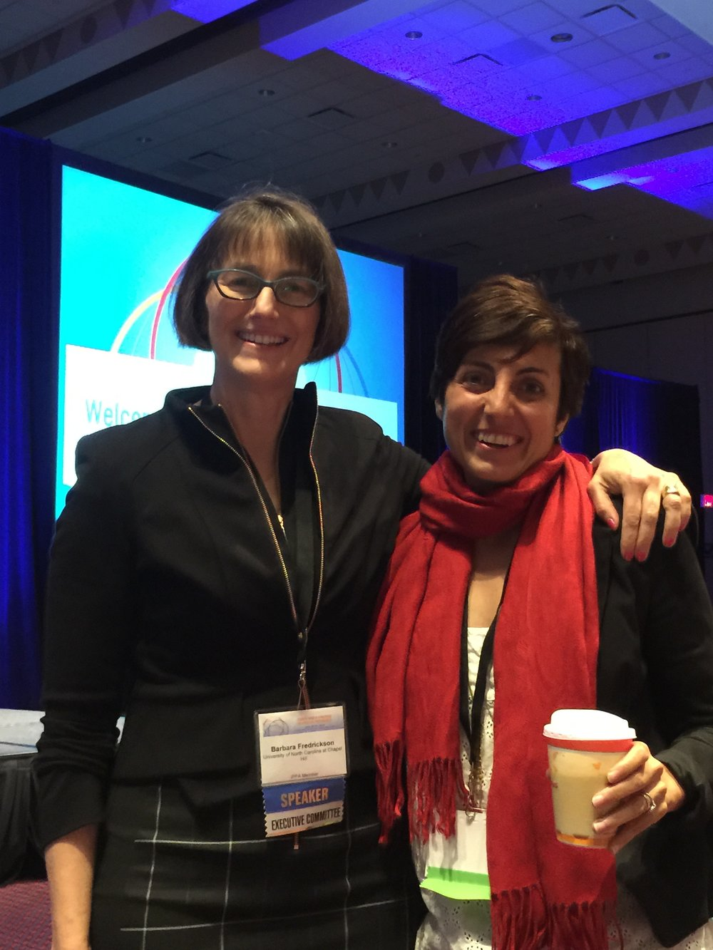 Barbara Fredickson, researcher on happiness and author and Silvia Garcia