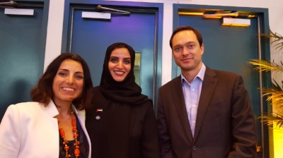 Silvia Garcia at the United Nations with the  Minister of Happiness of the UAE  and Professor J an-Emmanuel De Neve , co-author of the Worldwide Report on Happiness.