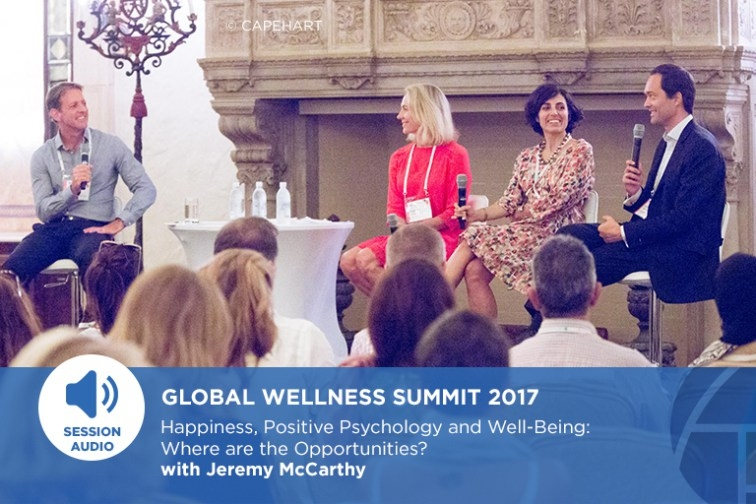 Silvia Garcia, discussing on  Happiness at Work  with  Jan-Emmanuel De Neve , co-author of the Worldwide Report on Happiness, Jeremy McCarthy, Group Director of Spa & Wellness, Mandarin Oriental Hotel Group, Hong Kong and  Camilla Soeril, Owner, Canica AS.