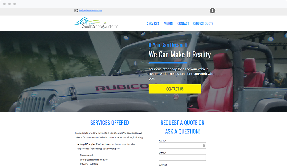 South Shore Customs (Plymouth, MA) - Visit Landing Page