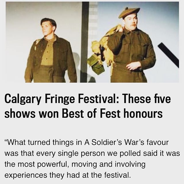 Thank you #Calgary #fringe for the support and memories! We just landed in #Edmonton for the #yegfringe First show is Friday at 830pm at the King Edward School. Get your tickets while you can ;) #asoldierswar #yegtheatre #yegsummer #yeg #yegfestival #oldstrathcona #exploreedmonton #explorealberta #yegarts #fringefests #fringefestival #arts #canada #canadian #canada150 #thenorthremembers