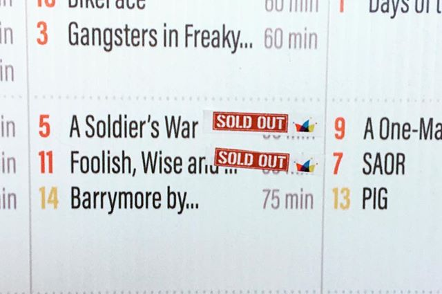 That makes 3 in a row for sold out shows. Still a few tickets to our 1215 show. So in 50 mins. Get'em while you can! #yeg #yegfringe #asoldierswar #yegsummer #yegarts #edmonton #edmontonfringe #fringe #fringefestival #exploreedmonton @edmontonfringe