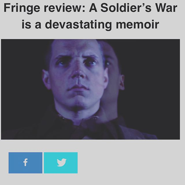 First review is up from #vancouverpresents! 4 Stars!!! We had a pretty awesome little house last night to open #yvrfringe and our ticket sales momentum is already growing! Get them while you can. And invite your friends! #yvr #yvrarts #vancouver #vancouverarts #vancouverfringe #explorevancouver #explorebc #granvilleisland #fringe #fringefestival #waterfronttheatre . Full review can be found here: https://www.vancouverpresents.com/2017-vancouver-fringe/review-soldiers-war-devastating-memoir/amp/